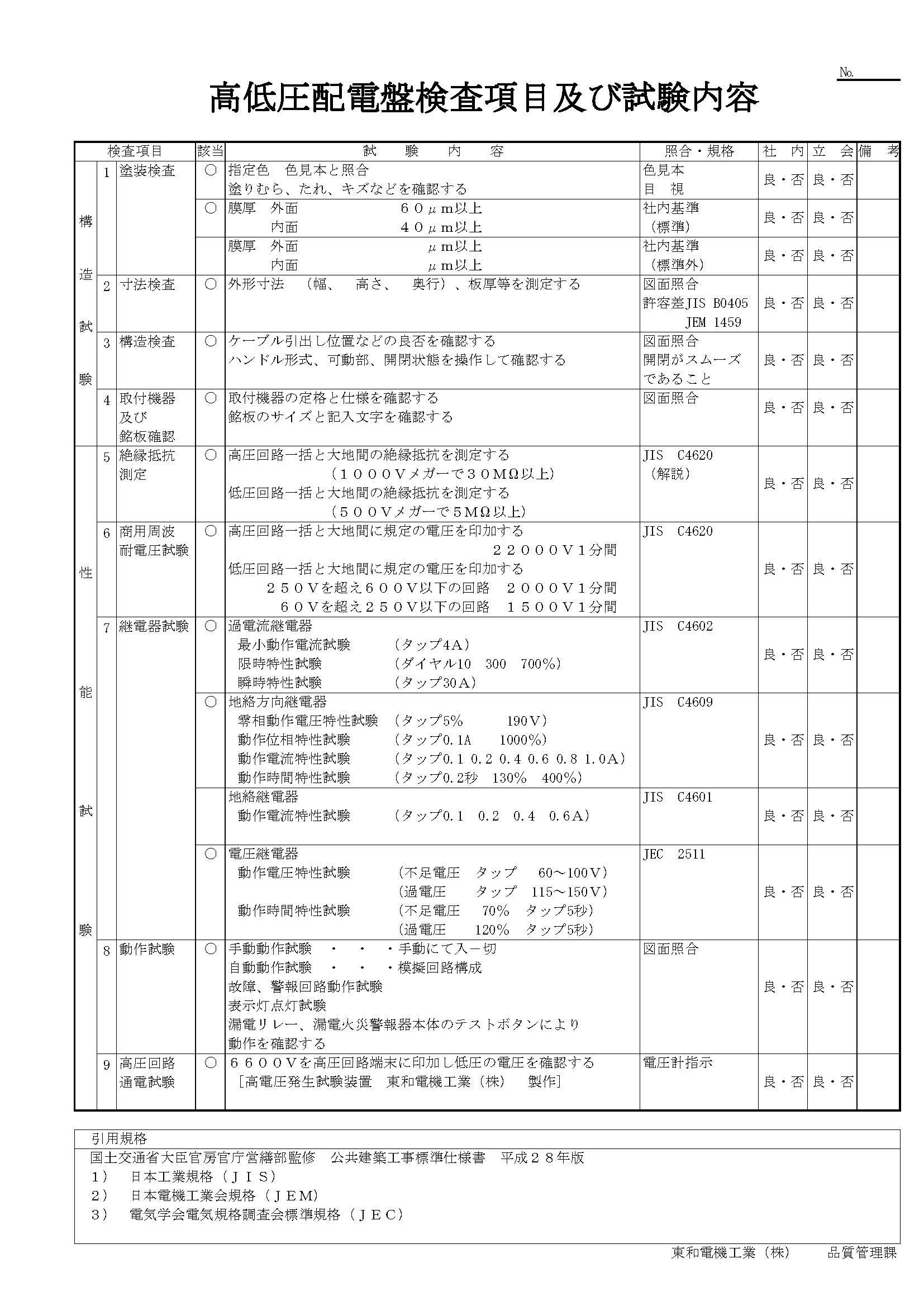 高低圧配電盤検査項目及び試験内容